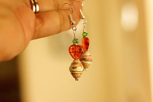 Valentine Glass Drops Collection - Paper Bead Earrings - The Biscuit Marketplace