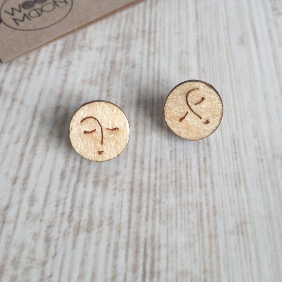 Simple Sleeping Moon Face Eco Wood Stud Earrings