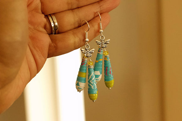Boho Mod Collection - Paper Bead Earrings - The Biscuit Marketplace