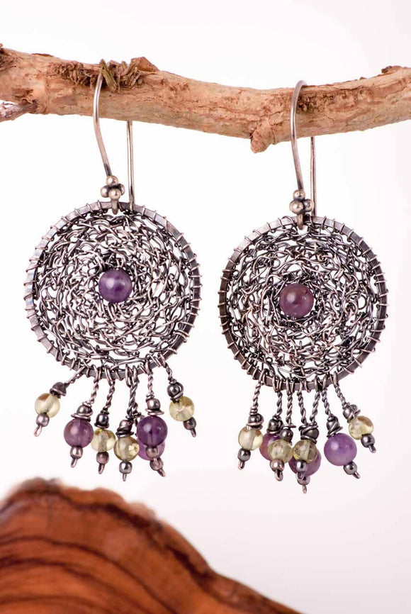 Amethyst in the Silver Net Earrings - The Biscuit Marketplace