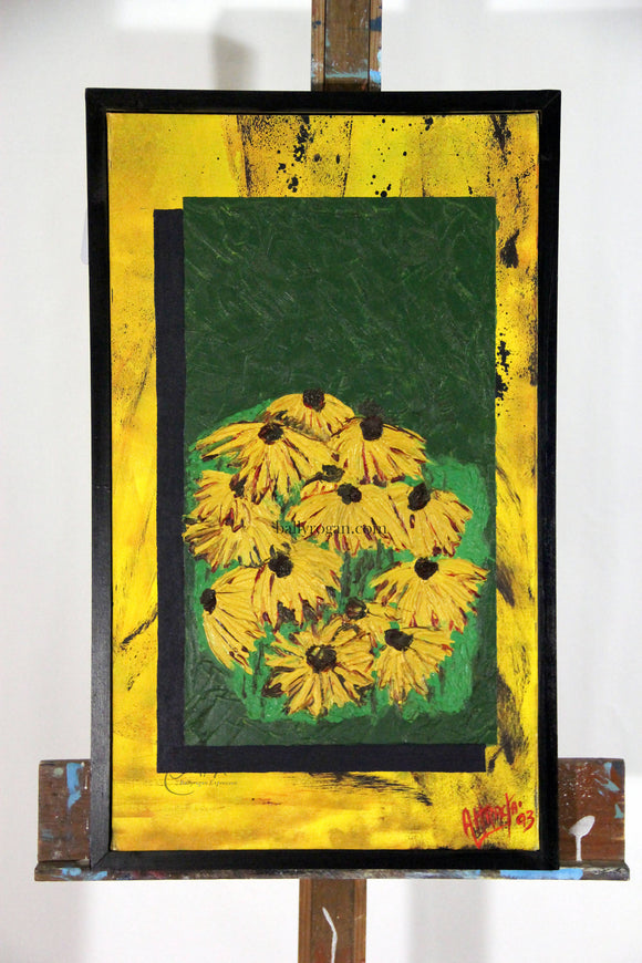 Daisies by Attracta Manson Oil on Canvas 75 x 35cm - The Biscuit Marketplace