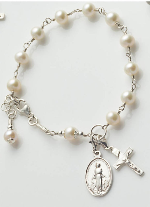 Rosary Bracelet: Sterling Silver with Freshwater Pearl - The Biscuit Marketplace