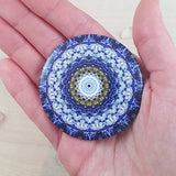Blue And White Round Mandala Fridge Magnet - The Biscuit Marketplace
