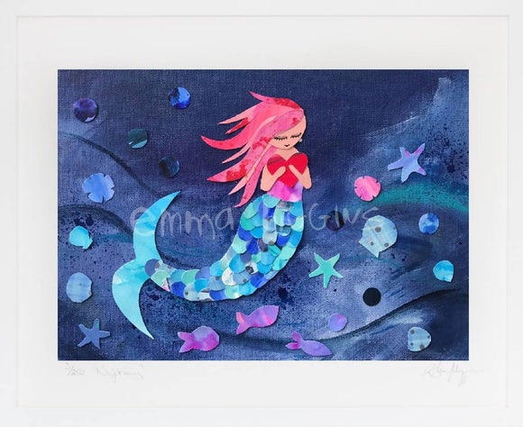 'Ruby' Mermaid print - The Biscuit Marketplace