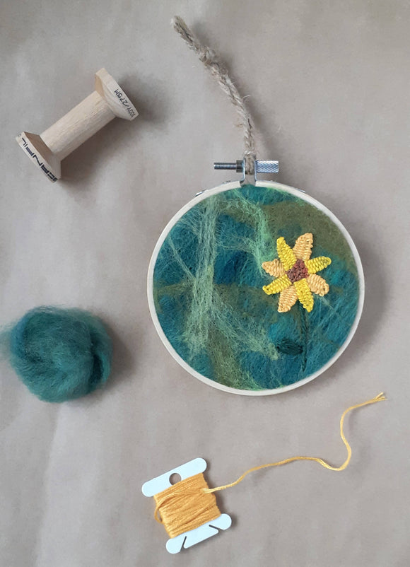 Sunflower hand embroidery needle felted hoop/fiber art, framed home decor - The Biscuit Marketplace