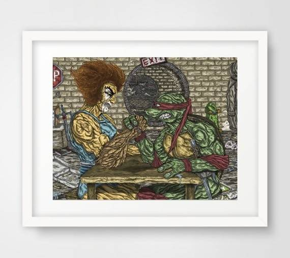 ThunderCats Vs. The Teenage Mutant Ninja Turtles - LionO Vs. Raphael - Illustration Print - The Biscuit Marketplace