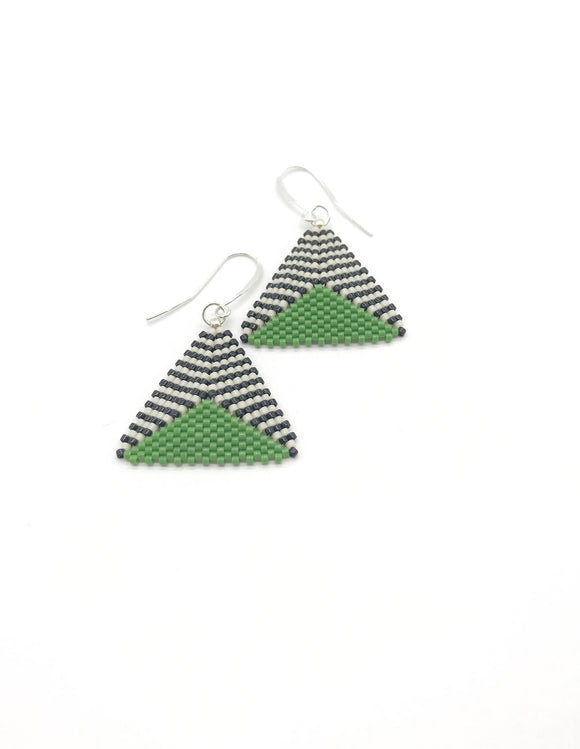 Triangle Dome Black White and Green Dangle Earrings