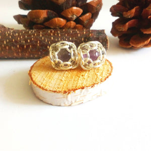 Silver Set Amethyst Studs - The Biscuit Marketplace