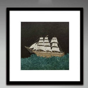 Tall Ship on the Night Ocean - Illustration Print
