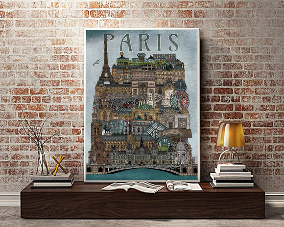 Paris Cityscape - Illustration Print - The Biscuit Marketplace