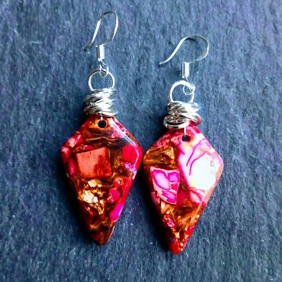 Pink and gold Sea Sediment Jasper Earrings - The Biscuit Marketplace