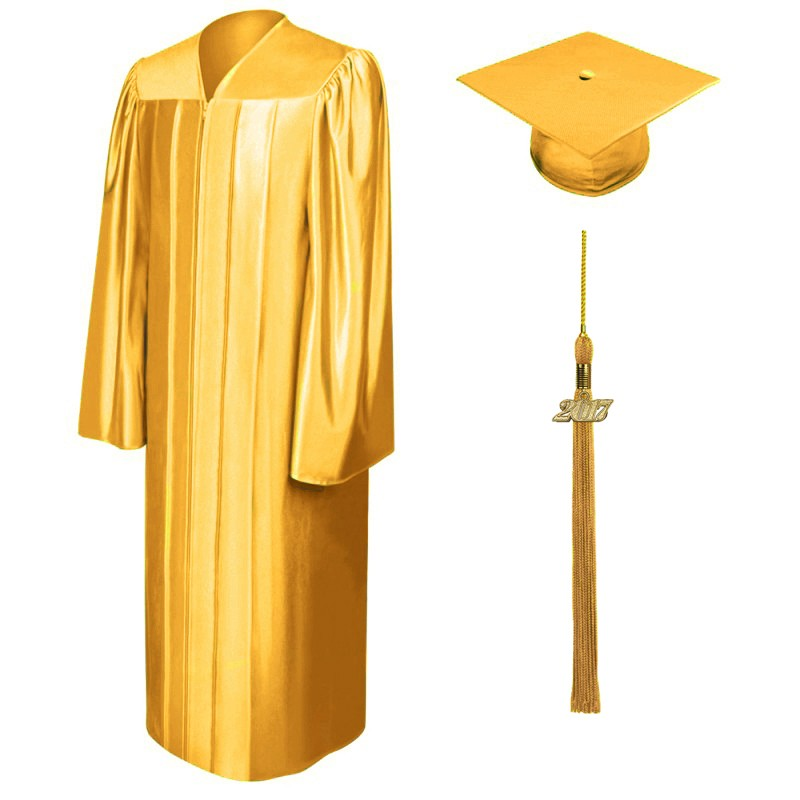 Shiny Antique Gold Bachelors Cap & Gown - College & University - Graduation Cap and Gown