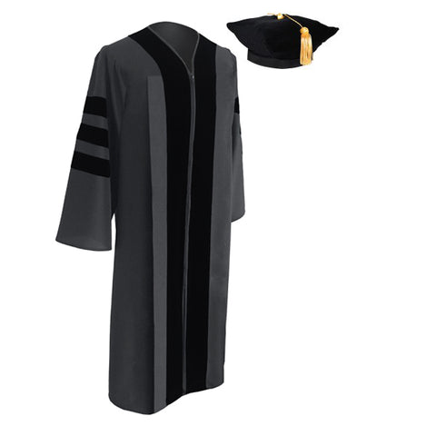 Classic Doctoral Graduation Tam & Gown - Academic Regalia - Graduation Cap and Gown
