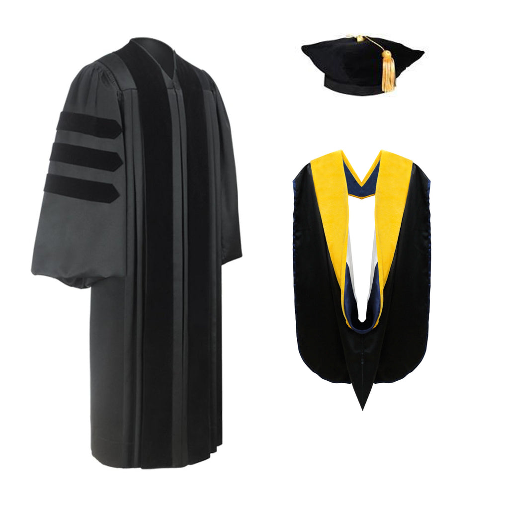 Deluxe Doctoral Graduation Tam, Gown & Hood Package - Graduation Cap and Gown