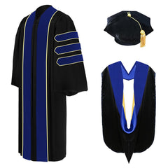 Deluxe PhD Doctoral Graduation Tam, Gown & Hood Package - PhD Blue - Graduation Cap and Gown