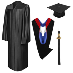 Shiny Black Bachelors Cap, Gown, Tassel & Hood Package - Graduation Cap and Gown