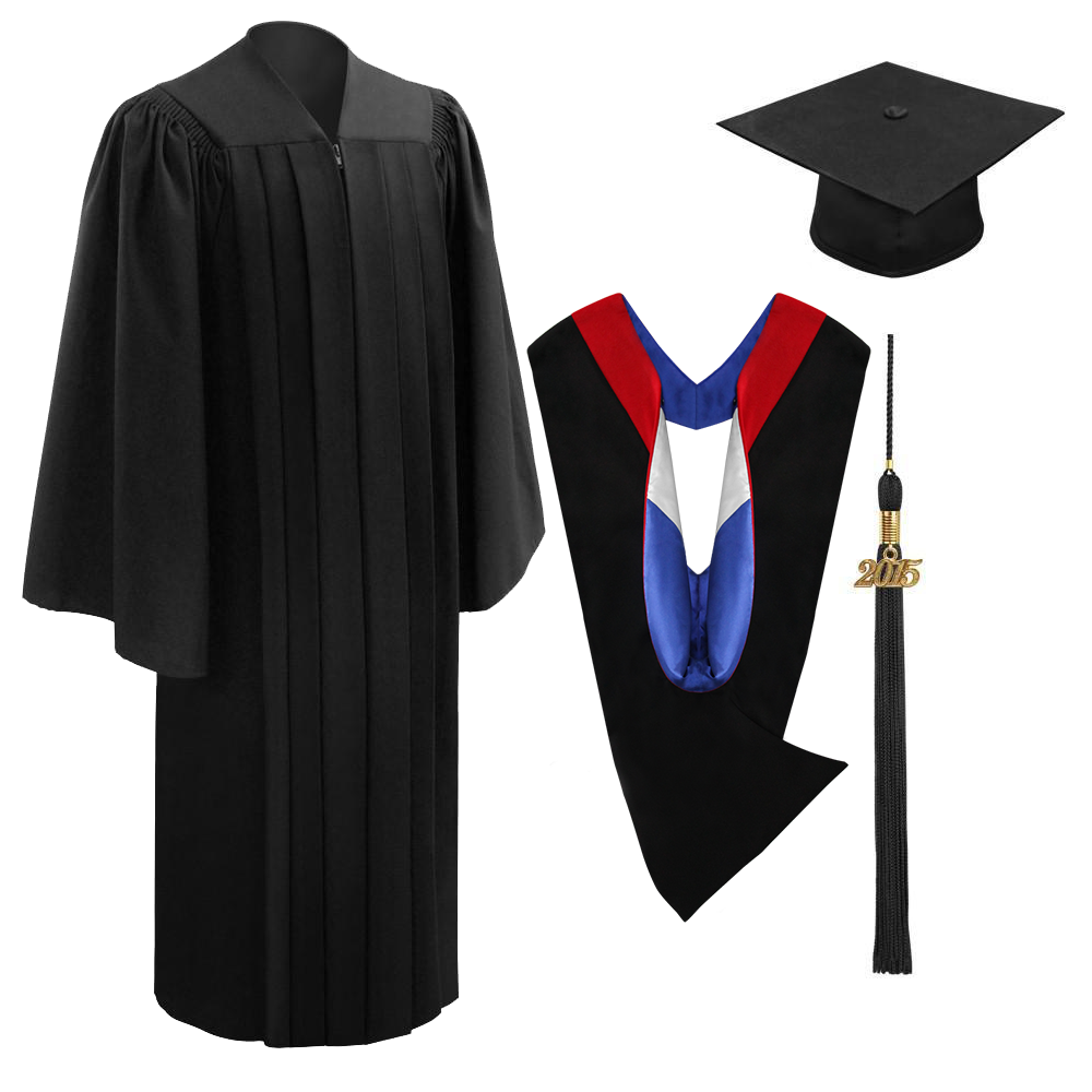 Deluxe Black Bachelors Cap, Gown, Tassel & Hood Package - Graduation Cap and Gown