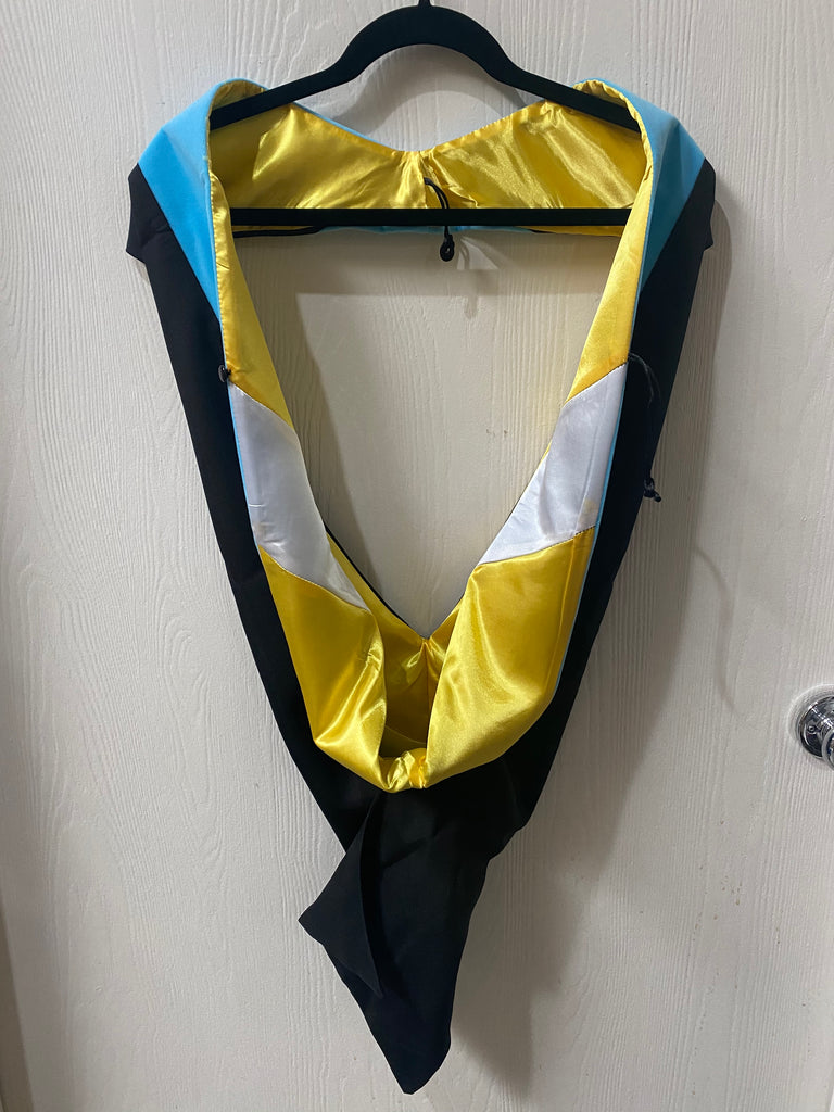 IN-STOCK GRADUATION MASTER HOOD - LIGHT BLUE VELVET, GOLDEN YELLOW LINING, WHITE CHEVRON
