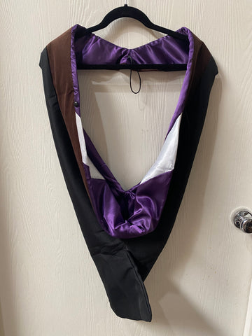 IN-STOCK GRADUATION MASTER HOOD -  BROWN VELVET, PURPLE LINING, WHITE CHEVRON