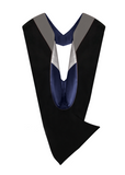 IN-STOCK GRADUATION MASTER HOOD - SILVER VELVET, MIDNIGHT BLUE LINING, SILVER CHEVRON