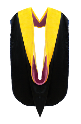 IN-STOCK GRADUATION DOCTORAL HOOD - MAIZE VELVET, CRIMSON LINING, GOLDEN YELLOW CHEVRON