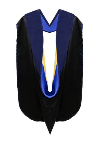 IN-STOCK PHD GRADUATION DOCTORAL ACADEMIC HOOD - Royal Blue & Golden Yellow