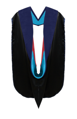 Phd Hood Dark Blue Velvet - Peacock Blue & Red