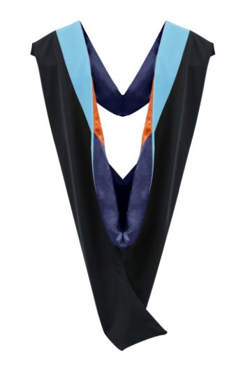 IN-STOCK GRADUATION MASTER HOOD -  LIGHT BLUE VELVET, MIDNIGHT BLUE LINING, ORANGE CHEVRON