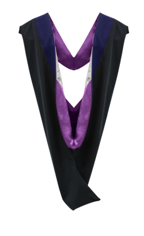 IN-STOCK GRADUATION MASTER HOOD -  DARK BLUE VELVET, PURPLE LINING, SILVER CHEVRON