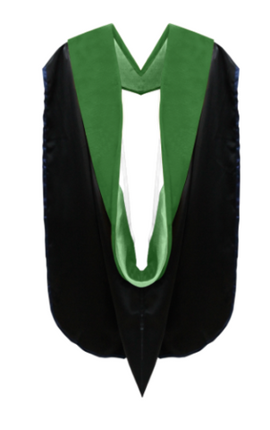IN-STOCK GRADUATION DOCTOR OF MEDICINE ACADEMIC HOOD - KELLY GREEN VELVET, GOLDEN YELLOW LINING, BLACK CHEVRON