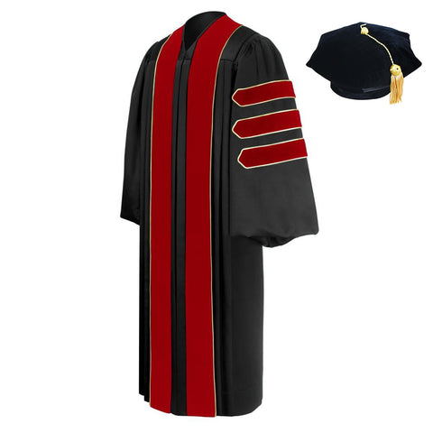 Deluxe Doctoral Academic Gown, Hood and Tam Package - Graduation Cap and Gown