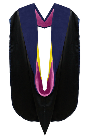 Phd Hood Dark Blue Velvet - Maroon & Gold