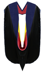 Phd Hood Dark Blue Velvet - Red & Gold