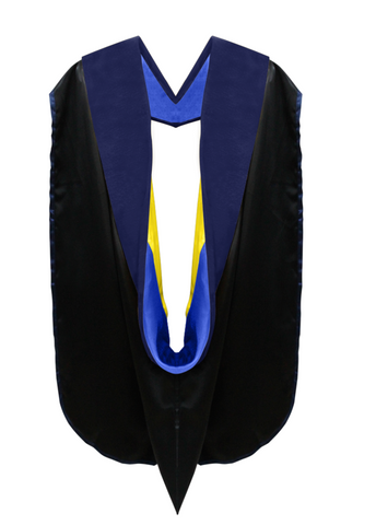 Phd Hood Dark Blue Velvet - Royal Blue & Gold