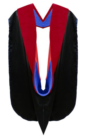 Doctor of Theology Hood - Royal Blue & Scarlet
