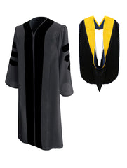 Classic Doctoral Graduation Gown & Hood Package - Graduation Cap and Gown