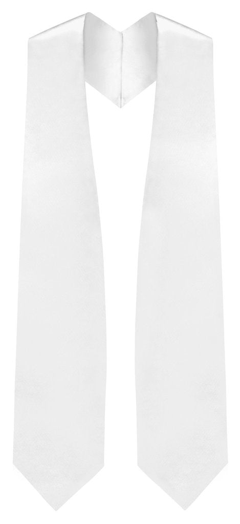 White Graduation Stole - White College & High School Stoles - Graduation Cap and Gown