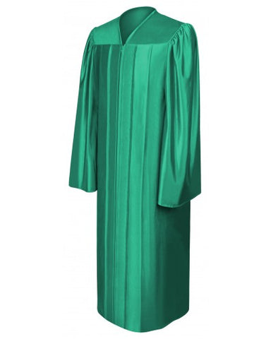 Shiny Emerald Green Bachelors Graduation Gown - College & University - Graduation Cap and Gown