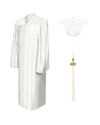 Shiny White Bachelors Cap & Gown - College & University - Graduation Cap and Gown