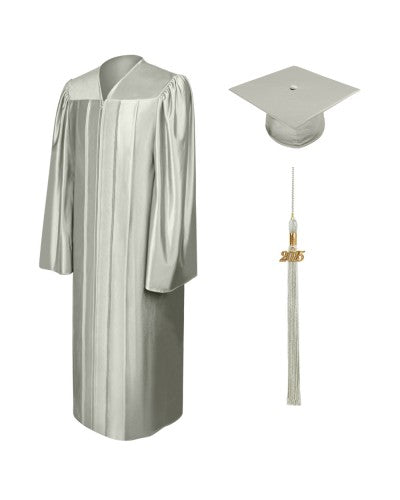 Shiny Silver High School Cap and Gown - Graduation Cap and Gown