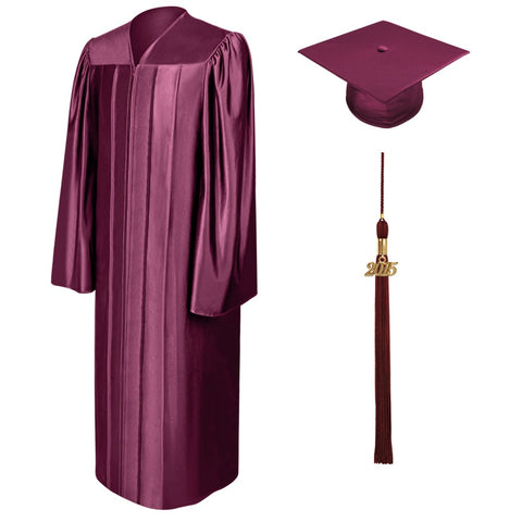 Shiny Maroon Bachelors Cap & Gown - College & University - Graduation Cap and Gown