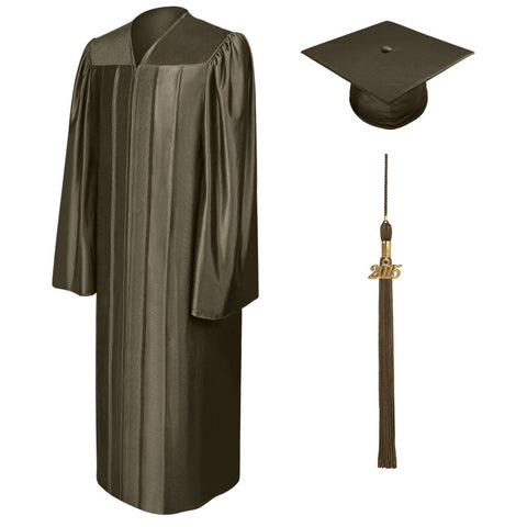 Shiny Brown High School Graduation Cap and Gown - Graduation Cap and Gown