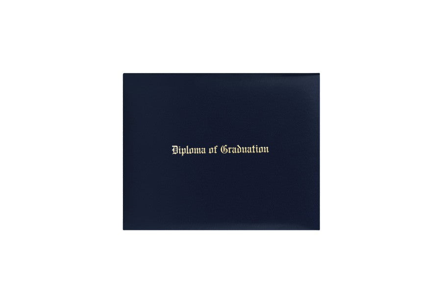 Navy Blue Imprinted Diploma Cover - High School Diploma Covers - Graduation Cap and Gown