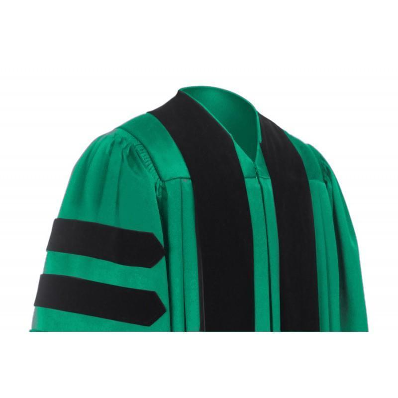 Deluxe Emerald Doctoral Gown - Graduation Cap and Gown