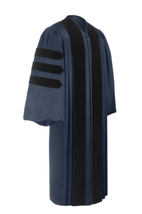 Deluxe Navy Blue Doctoral Gown - Graduation Cap and Gown
