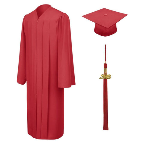 Matte Red High School Cap & Gown - Graduation Cap and Gown