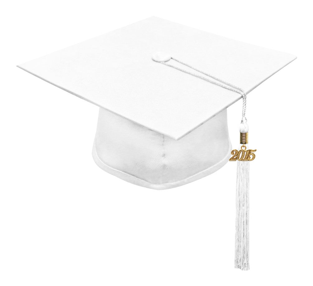 Matte White High School Cap & Tassel - Graduation Caps - Graduation Cap and Gown