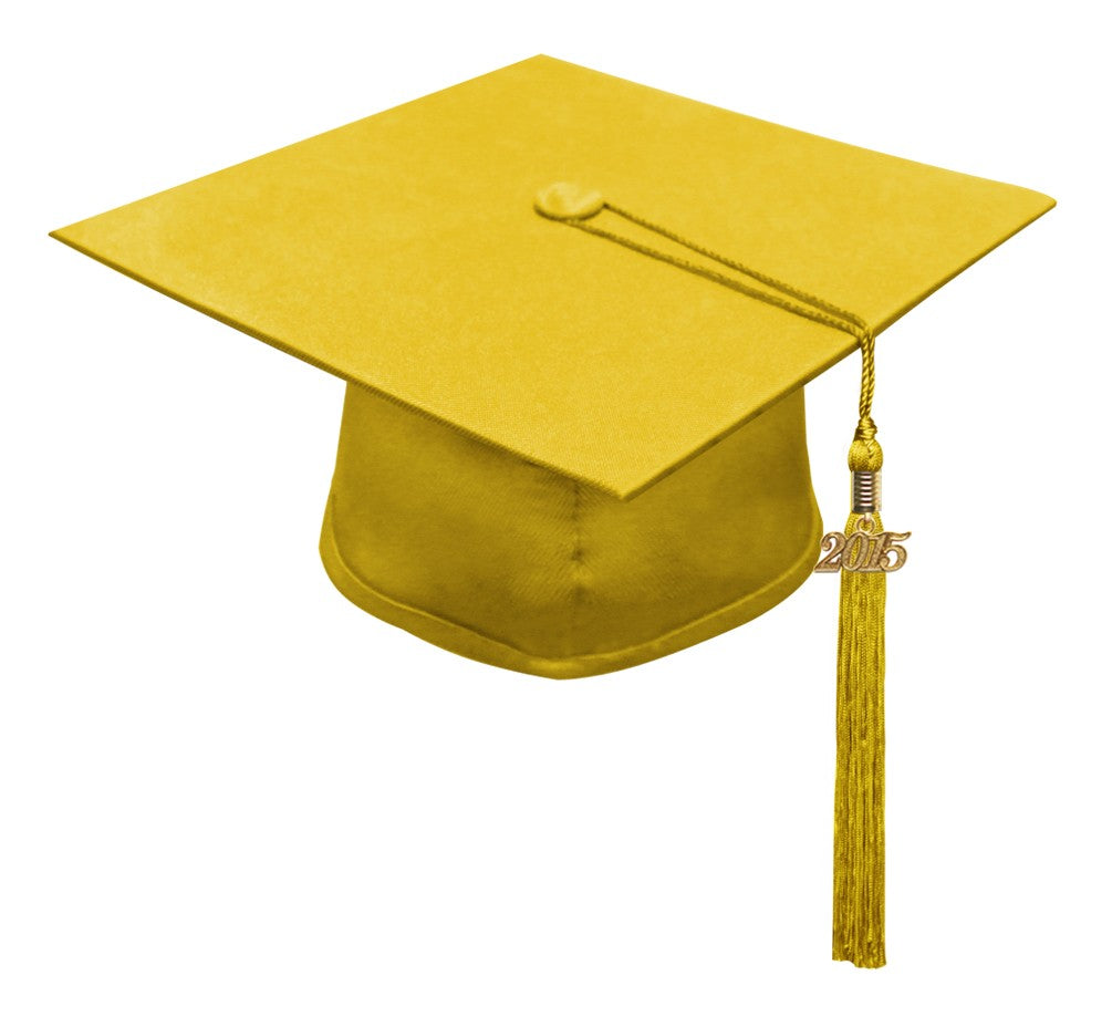 Matte Gold High School Cap & Tassel - Graduation Caps - Graduation Cap and Gown