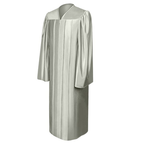 Shiny Silver High School Graduation Gown - Graduation Cap and Gown