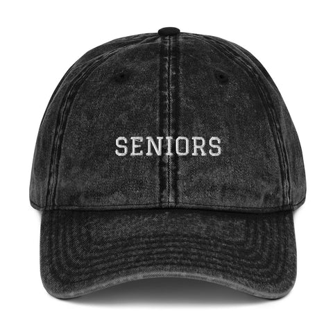 """SENIORS"" Vintage Cotton Twill Cap - High School Graduation - Graduation Cap and Gown"